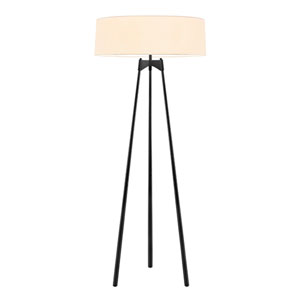 Torii Satin Black Three Light Floor Lamp