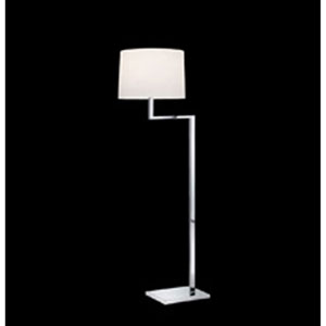Thick Thin One-Light - Polished Chrome with White Cotton Shade - Floor Lamp