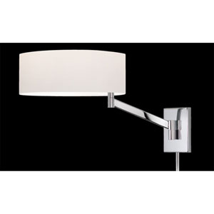 Perch One-Light - Polished Chrome with White Cotton Shade - Swing Arm Wall Lamp