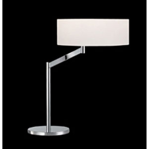 Perch One-Light - Polished Chrome with White Cotton Shade - Swing Arm Table Lamp