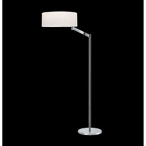 Perch One-Light - Polished chrome with White Cotton Shade - Swing Arm Floor Lamp