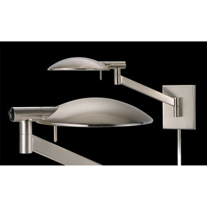 Perch Pharmacy One-Light - Satin Nickel with Satin Nickel Metal Shade - Swing Arm Wall Lamp