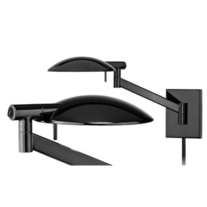 Perch Pharmacy One-Light - Gloss Black with Gloss Black Metal Shade - Swing Arm Wall Lamp