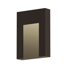 Inside-Out Inset Textured Bronze Short LED Wall Sconce
