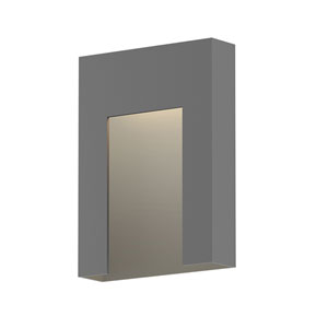 Inside-Out Inset Textured Gray Short LED Wall Sconce