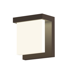 Inside-Out Glass Glow Textured Bronze LED Wall Wall Sconce with Clear Etched Glass Shade