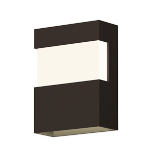 Inside-Out Band Textured Bronze 8-Inch LED Wall Sconce with White Optical Acrylic Diffuser