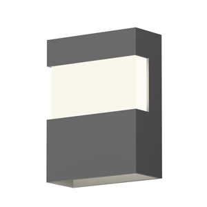 Inside-Out Band Textured Gray 8-Inch LED Wall Sconce with White Optical Acrylic Diffuser