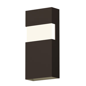 Inside-Out Band Textured Bronze 13-Inch LED Wall Sconce with White Optical Acrylic Diffuser
