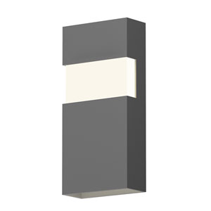 Inside-Out Band Textured Gray 13-Inch LED Wall Sconce with White Optical Acrylic Diffuser