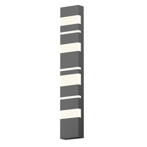 Inside-Out Jazz Notes Textured Gray 36-Inch LED Wall Sconce with White Optical Acrylic Diffuser