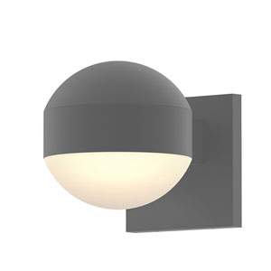 Inside-Out REALS Textured Gray Downlight LED Sconce with Dome Lens and Dome Cap and Frosted White Lens