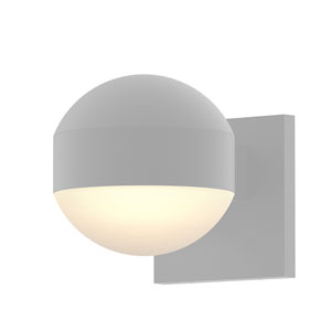 Inside-Out REALS Textured White Downlight LED Wall Sconce with Dome Lens and Dome Cap and Frosted White Lens