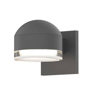 Inside-Out REALS Textured Gray Downlight LED Sconce with Cylinder Lens and Dome Cap with Clear Lens