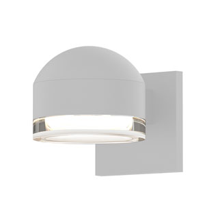 Inside-Out REALS Textured White Downlight LED Wall Sconce with Cylinder Lens and Dome Cap with Clear Lens