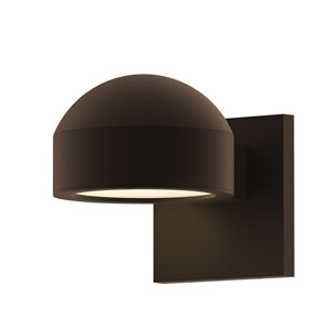 Inside-Out REALS Textured Bronze Downlight LED Wall Sconce with Plate Lens and Dome Cap with Frosted White Lens