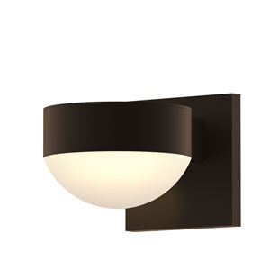 Inside-Out REALS Textured Bronze Downlight LED Wall Sconce with Dome Lens and Plate Cap with Frosted White Lens