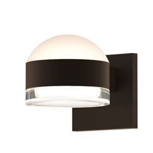 Inside-Out REALS Textured Bronze Up Down LED Wall Sconce with Cylinder Lens and Dome Cap with Clear Lens