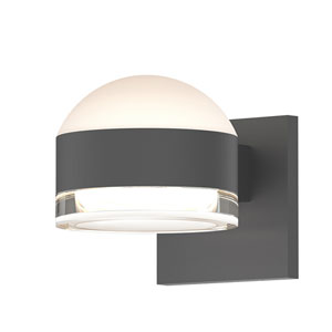 Inside-Out REALS Textured Gray Up Down LED Sconce with Cylinder Lens and Dome Cap with Clear Lens