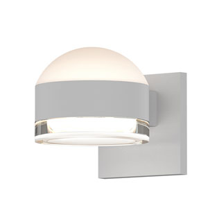 Inside-Out REALS Textured White Up Down LED Wall Sconce with Cylinder Lens and Dome Cap with Clear Lens