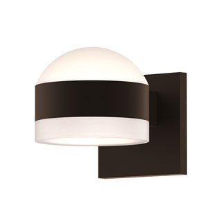 Inside-Out REALS Textured Bronze Up Down LED Wall Sconce with Cylinder Lens and Dome Cap with Frosted White Lens