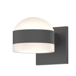 Inside-Out REALS Textured Gray Up Down LED Sconce with Cylinder Lens and Dome Cap with Frosted White Lens