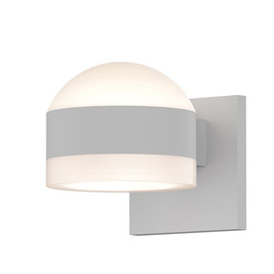 Inside-Out REALS Textured White Up Down LED Wall Sconce with Cylinder Lens and Dome Cap with Frosted White Lens