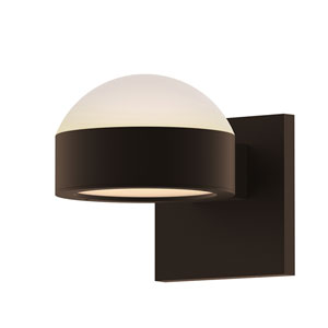 Inside-Out REALS Textured Bronze Up Down LED Wall Sconce with Plate Lens and Dome Cap with Frosted White Lens