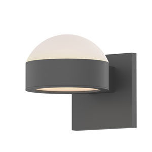 Inside-Out REALS Textured Gray Up Down LED Sconce with Plate Lens and Dome Cap with Frosted White Lens