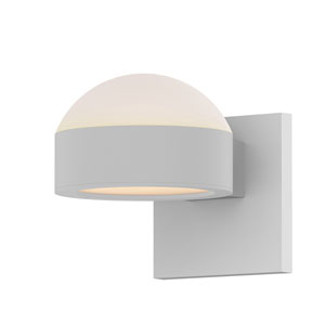 Inside-Out REALS Textured White Up Down LED Wall Sconce with Plate Lens and Dome Cap with Frosted White Lens