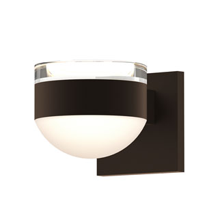 Inside-Out REALS Textured Bronze Up Down LED Wall Sconce with Dome Lens and Cylinder Cap - Clear Cap with Frosted White Lens