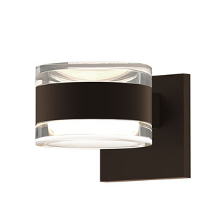 Inside-Out REALS Textured Bronze Up Down LED Wall Sconce with Cylinder Lens and Cylinder Cap - Clear Cap with Clear Lens