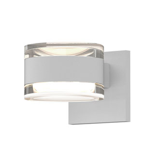 Inside-Out REALS Textured White Up Down LED Wall Sconce with Cylinder Lens and Cylinder Cap - Clear Cap with Clear Lens