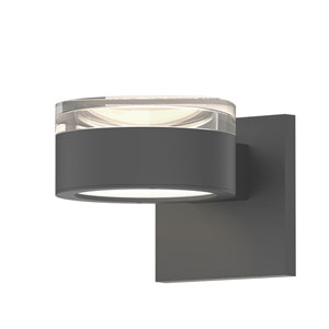 Inside-Out REALS Textured Gray Up Down LED Sconce with Cylinder Cap and Plate Lens - Clear Cap with Frosted White Lens
