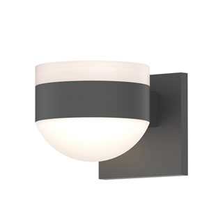Inside-Out REALS Textured Gray Up Down LED Sconce with Dome Lens and Cylinder Cap - White Cap with Frosted White Lens