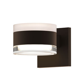 Inside-Out REALS Textured Bronze Up Down LED Wall Sconce with Cylinder Lens and Cylinder Cap - White Cap with Clear Lens