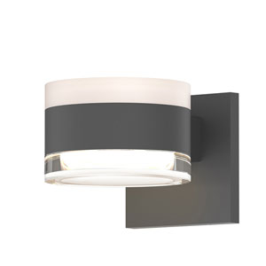 Inside-Out REALS Textured Gray Up Down LED Sconce with Cylinder Lens and Cylinder Cap - White Cap with Clear Lens