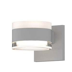 Inside-Out REALS Textured White Up Down LED Wall Sconce with Cylinder Lens and Cylinder Cap - White Cap with Clear Lens