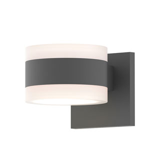 Inside-Out REALS Textured Gray Up Down LED Sconce with Cylinder Lens and Cylinder Cap - White Cap with Frosted White Lens