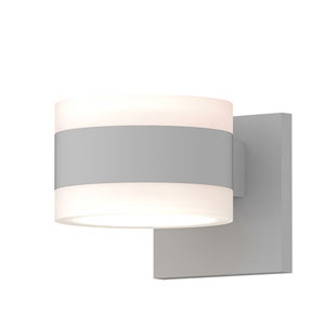 Inside-Out REALS Textured White Up Down LED Wall Sconce with Cylinder Lens and Cylinder Cap - White Cap with Frosted White