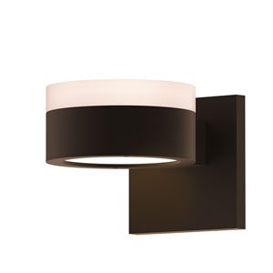 Inside-Out REALS Textured Bronze Up Down LED Wall Sconce with Plate Lens and Cylinder Cap - White Cap with Frosted White Lens