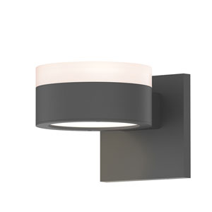 Inside-Out REALS Textured Gray Up Down LED Sconce with Plate Lens and Cylinder Cap - White Cap with Frosted White Lens