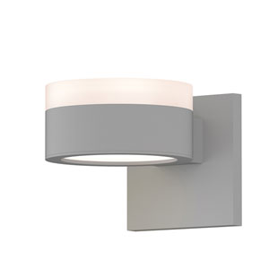 Inside-Out REALS Textured White Up Down LED Wall Sconce with Plate Lens and Cylinder Cap - White Cap with Frosted White Lens