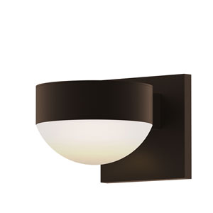 Inside-Out REALS Textured Bronze Up Down LED Wall Sconce with Dome Lens and Plate Cap with Frosted White Lens