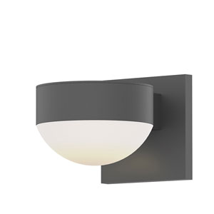 Inside-Out REALS Textured Gray Up Down LED Sconce with Dome Lens and Plate Cap with Frosted White Lens