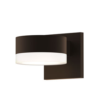 Inside-Out REALS Textured Bronze Up Down LED Wall Sconce with Cylinder Lens and Plate Cap with Frosted White Lens