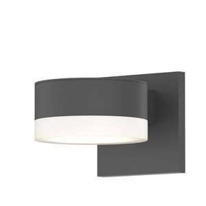 Inside-Out REALS Textured Gray Up Down LED Sconce with Cylinder Lens and Plate Cap with Frosted White Lens