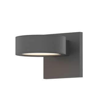 Inside-Out REALS Textured Gray Up Down LED Sconce with Plate Lens and Plate Cap with Frosted White Lens