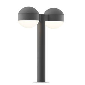 Inside-Out REALS Textured Gray 16-Inch LED Double Bollard with Dome Lens and Dome Cap with Frosted White Lens