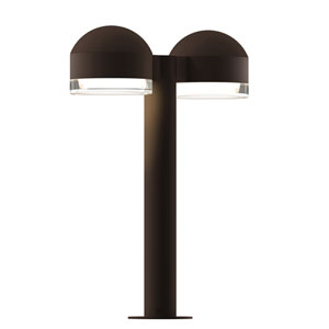 Inside-Out REALS Textured Bronze 16-Inch LED Double Bollard with Cylinder Lens and Dome Cap with Clear Lens